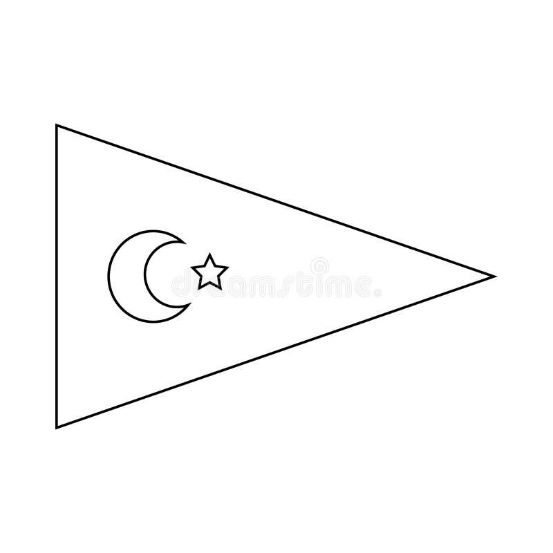Wimpel met Turks vlagpictogram, overzichtsstijl royalty-vrije illustratie