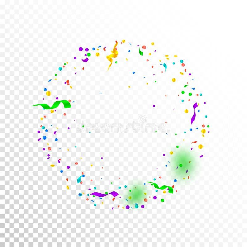 Wimpels en confettien Kleurrijke klatergoud en folielinten Confettienkader op witte transparante achtergrond vector illustratie