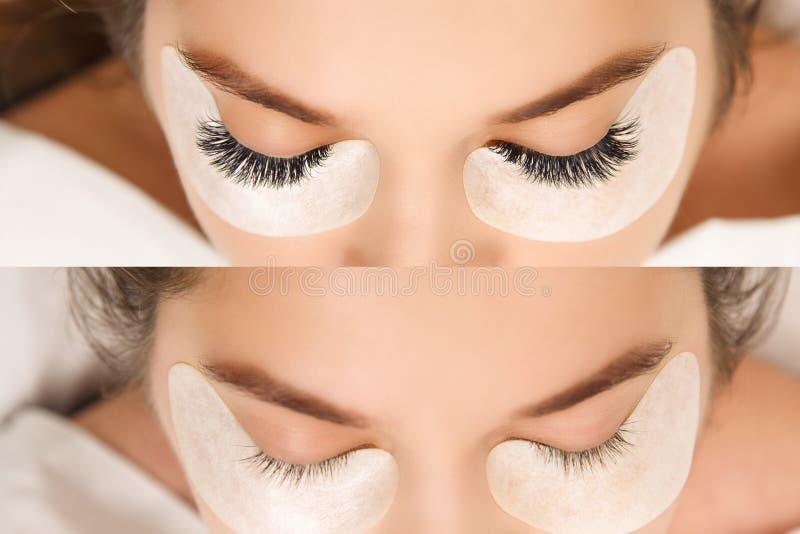 Wimper-Erweiterung Vergleich von weiblichen Augen vorher und nachher lizenzfreie stockfotos