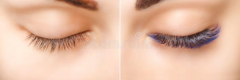 Wimper-Erweiterung Vergleich von weiblichen Augen vorher und nachher Blaue ombre Peitschen stockfoto