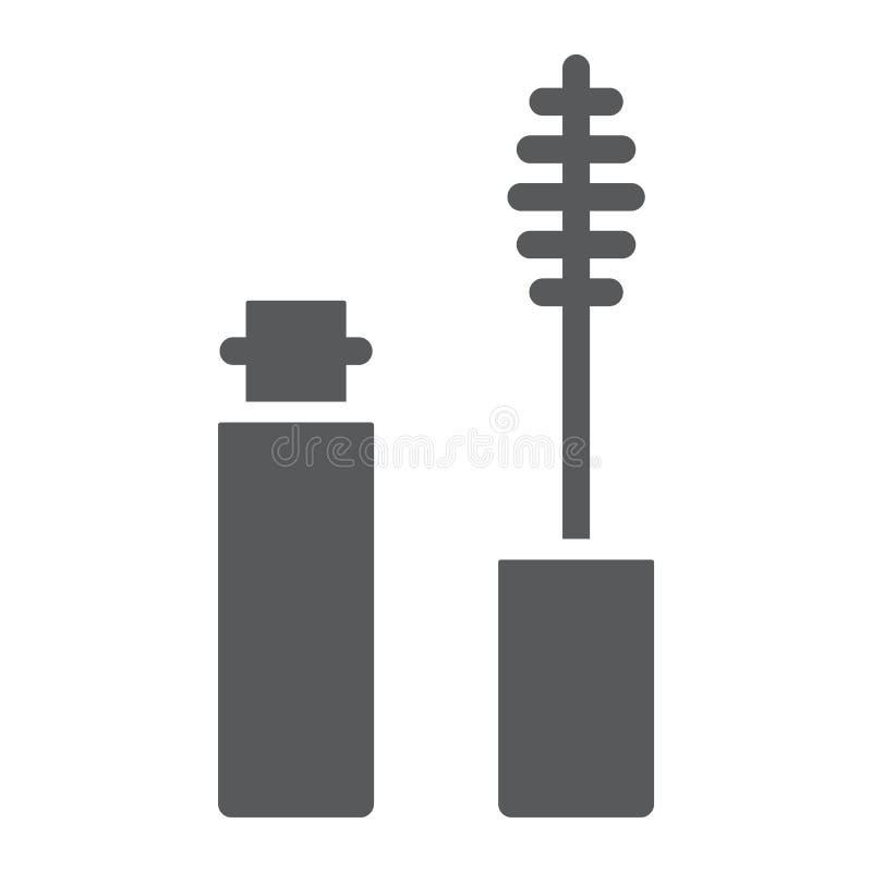 Wimperntuschenbürste Glyphikone, Wimper und Kosmetik, Augenmake-upzeichen, Vektorgrafik, ein festes Muster auf einem weißen Hinte stock abbildung
