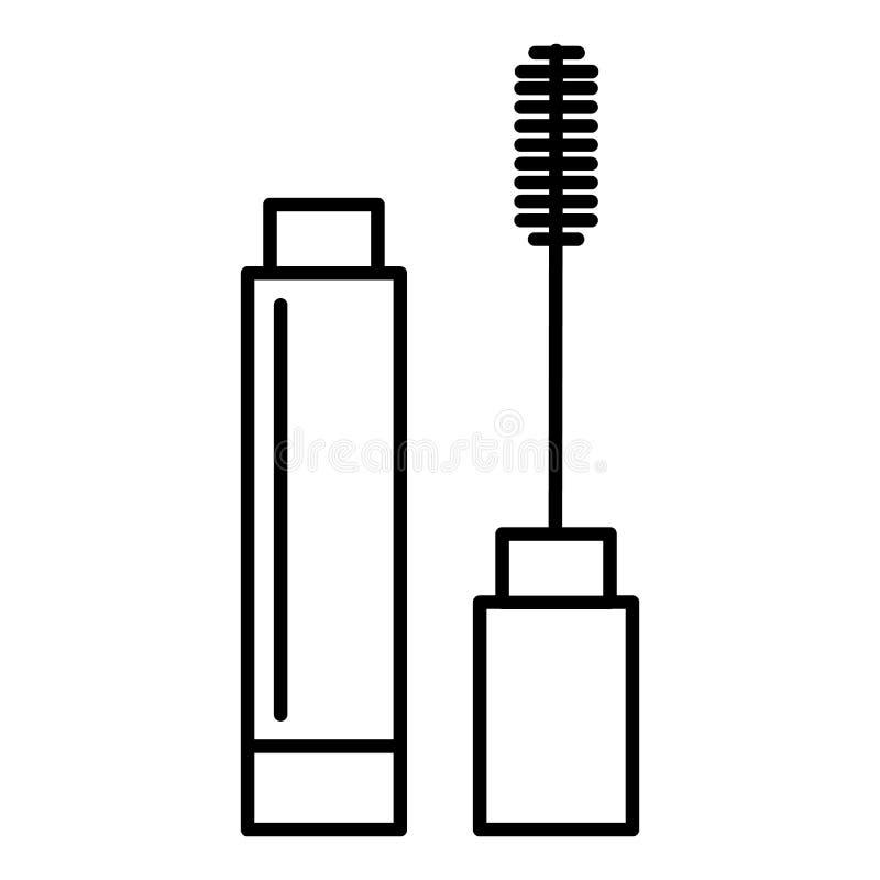 Wimperntuschenvektorlinie Ikone, Zeichen, Illustration auf Hintergrund, editable Anschläge stock abbildung