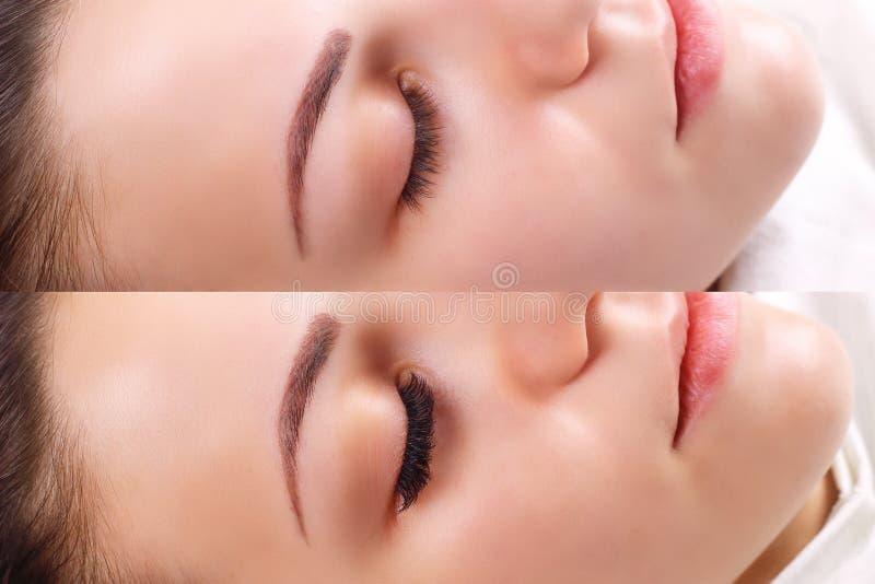 Wimperuitbreiding Vergelijking van vrouwelijke ogen vóór en na stock afbeelding