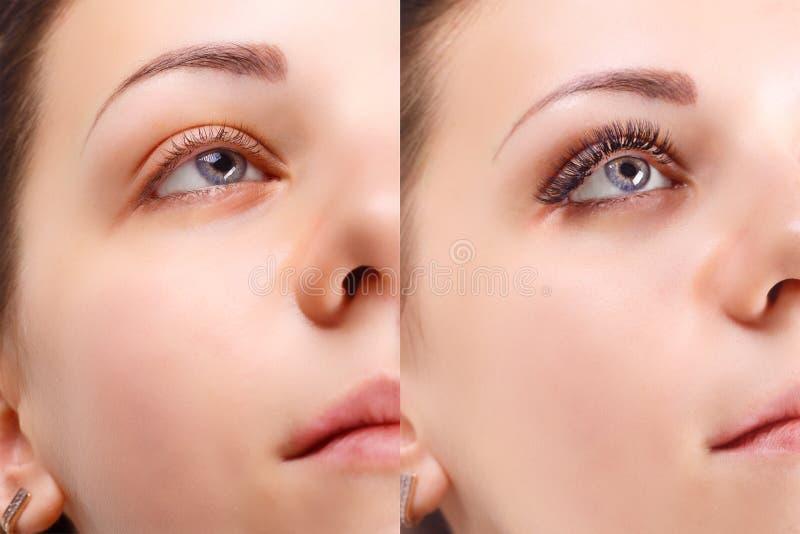 Wimperuitbreiding Vergelijking van vrouwelijke ogen vóór en na stock foto