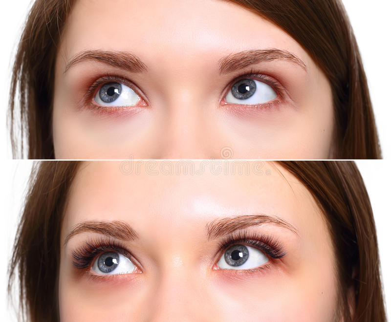Wimperuitbreiding Vergelijking van vrouwelijke ogen vóór en na royalty-vrije stock foto's