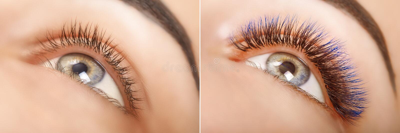 Wimperuitbreiding Vergelijking van vrouwelijke ogen vóór en na Blauwe ombrezwepen royalty-vrije stock afbeeldingen