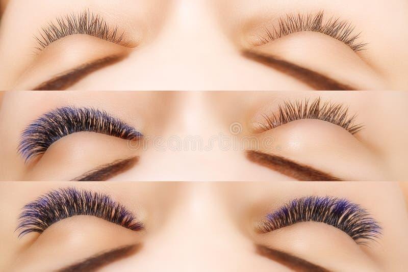 Wimperuitbreiding Vergelijking van vrouwelijke ogen vóór en na Blauwe ombrezwepen royalty-vrije stock foto