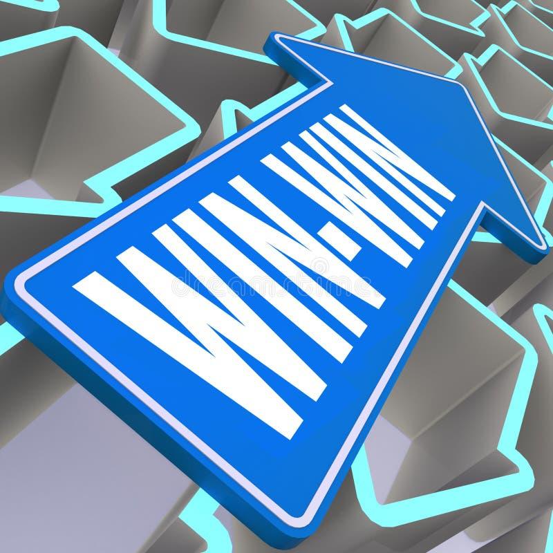 Win-win λέξη με το μπλε βέλος ελεύθερη απεικόνιση δικαιώματος