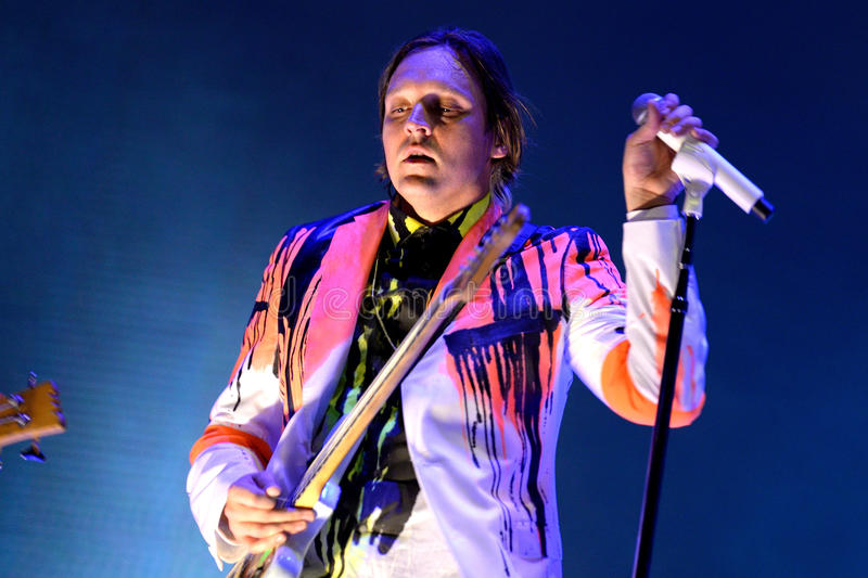 Win Butler, frontman of Arcade Fire (indie rock band) performs at Heineken Primavera Sound 2014 Festival royalty free stock photos