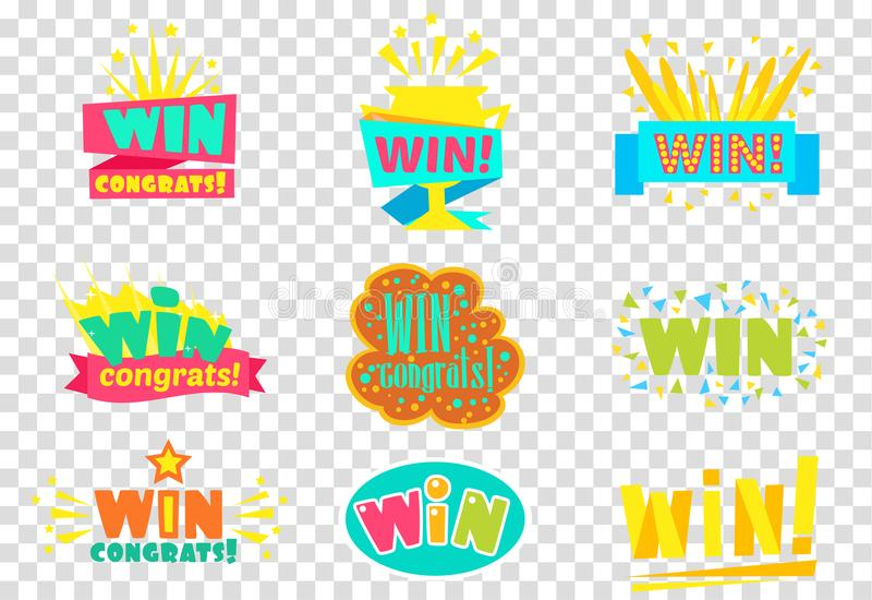 Win congratulations logo set, colorful sickers, labels can be used for mobile, video games vector Illustrations stock illustration
