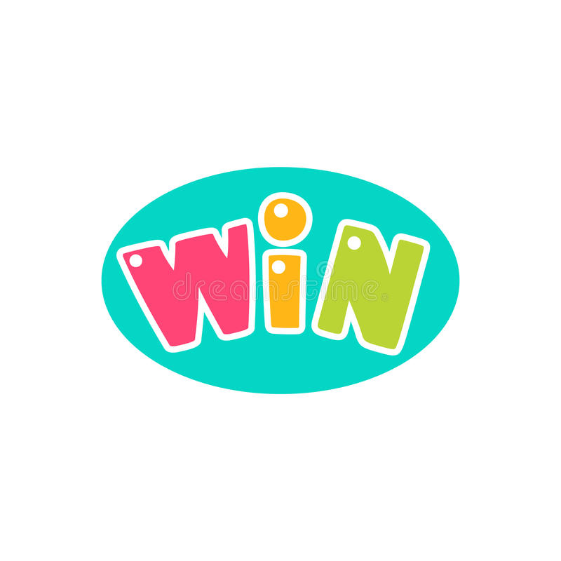 Win Congratulations Sticker With Bubble Design Template For Video Game Winning Finale stock illustration