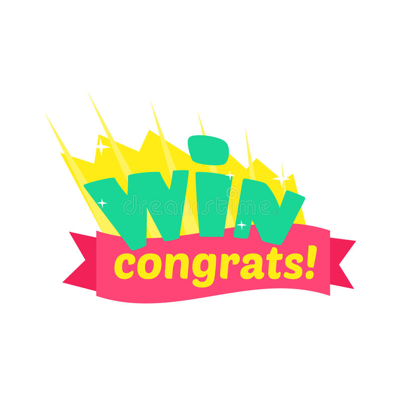 Win congratulations sticker design with green letters and red download win congratulations sticker design with green letters and red ribbon template for video game winning thecheapjerseys Choice Image
