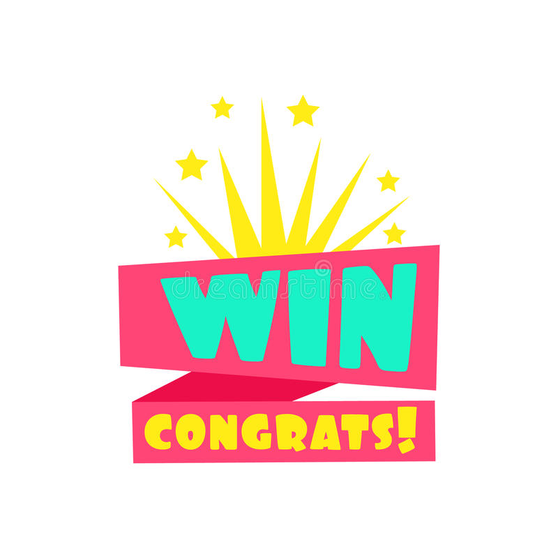 Win Congratulations Sticker Design Template For Video Game Winning Finale With Fireworks vector illustration