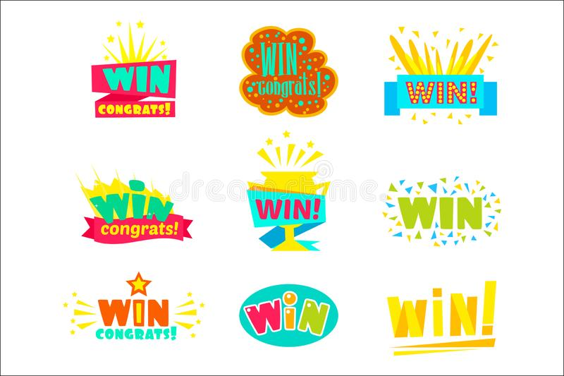 Win Congratulations Stickers Assortment Of Comic Designs For Video Game Winning Finale vector illustration