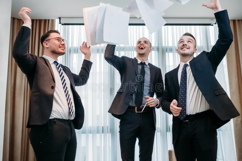 Win emotion papers air business deal celebration stock images