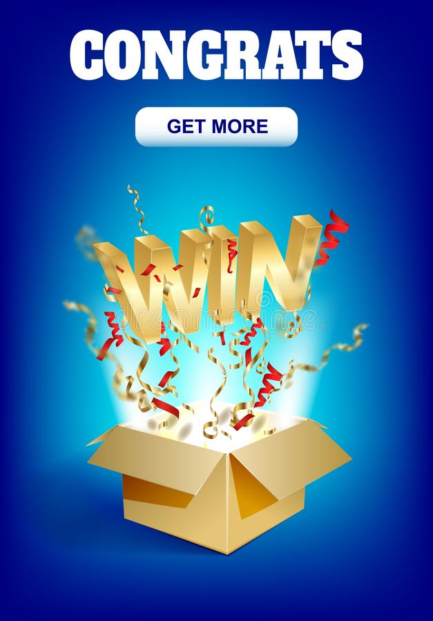 WIN gold text. Open box with confetti explosion inside and golden win word. Flying particles from giftbox vector illustration vector illustration