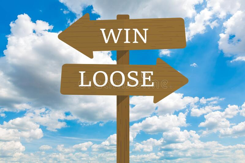 Win or loose signpost. Win or loose signpost with Cloud in blue sky stock photo