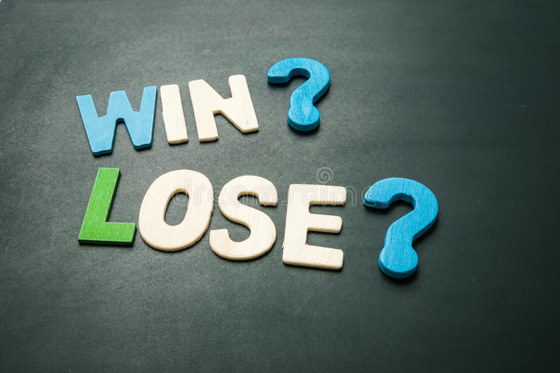 Win and Lose on blackboard stock photography