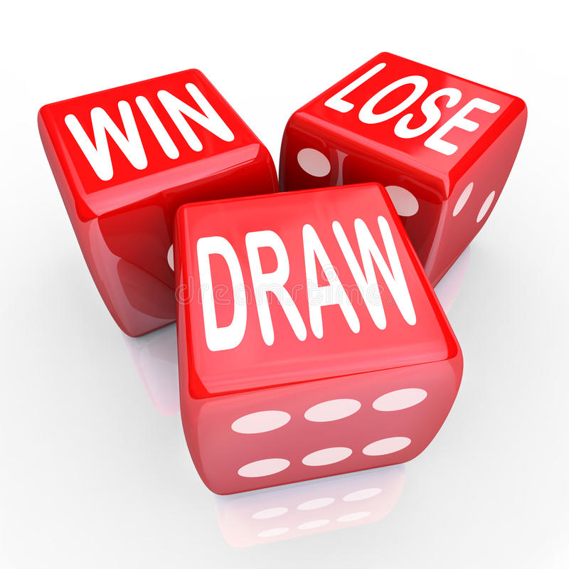 Win Lose Draw Words Three 3 Red Dice Competition Game. Win, Lose and Draw words on three red dice rolling in a game or competition to illustrate uncertainty stock illustration