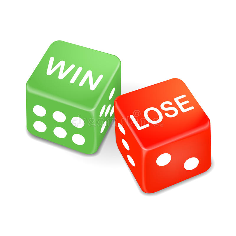 Win and lose words on two dice. Isolated on white background royalty free illustration