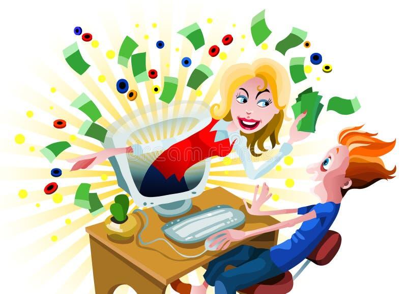 Win Online Geld royalty-vrije illustratie