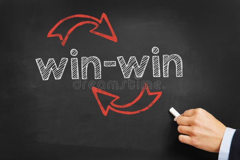Win-win situation concept. On blackboard royalty free stock photography