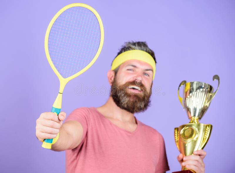Win tennis game. Man bearded hipster wear sport outfit. Success and achievement. Win every tennis match i take part in. Tennis player win championship. Athlete stock photography