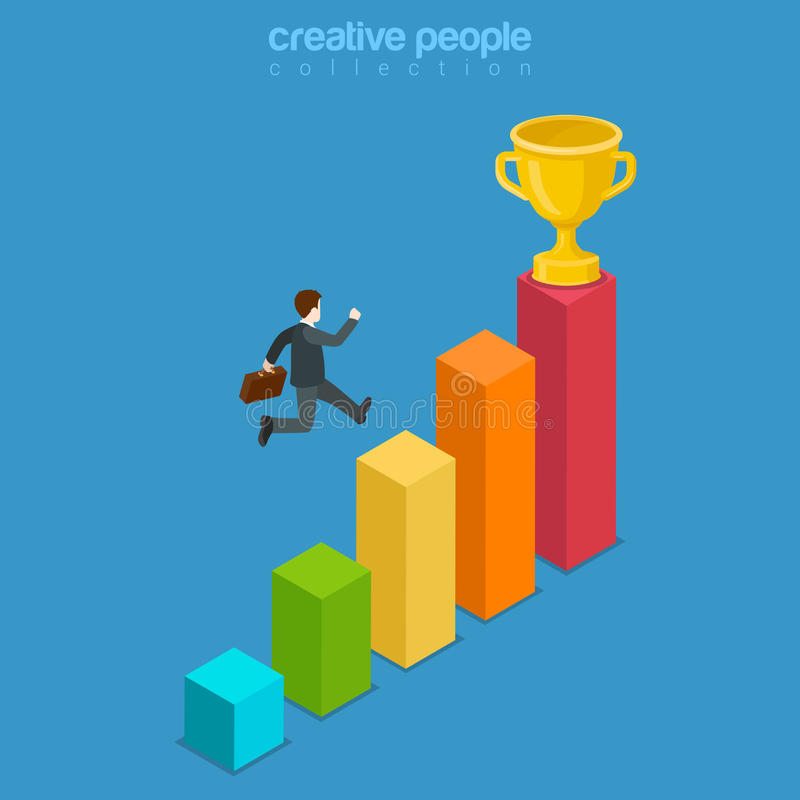 Win trophy success movement obstacle flat 3d isometric vector royalty free illustration