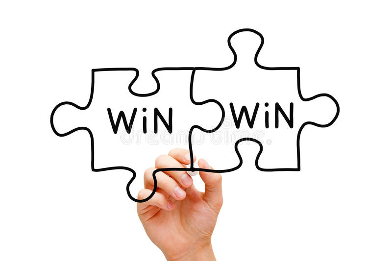 Win Win Puzzle Concept. Hand drawing Win Win Puzzle Concept with black marker on transparent wipe board royalty free stock photo