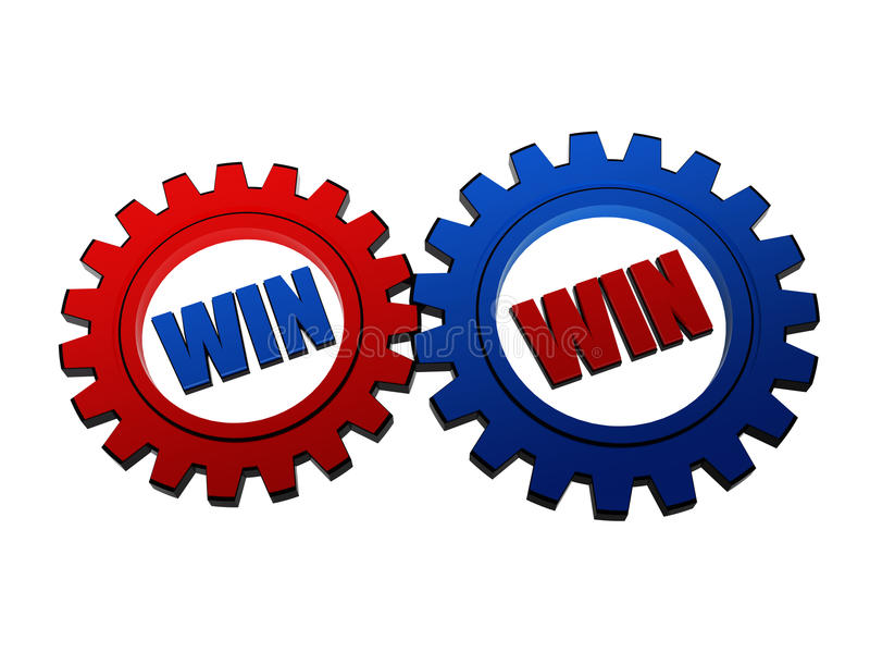 Win Win In Red And Blue Gearwheels Royalty Free Stock Photography