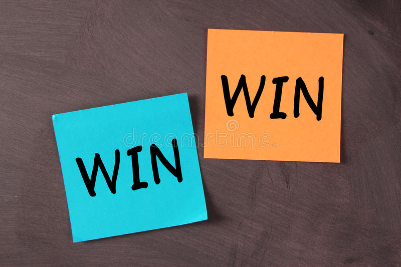 Win Win Situation. Notes pasted on blackboard stock image