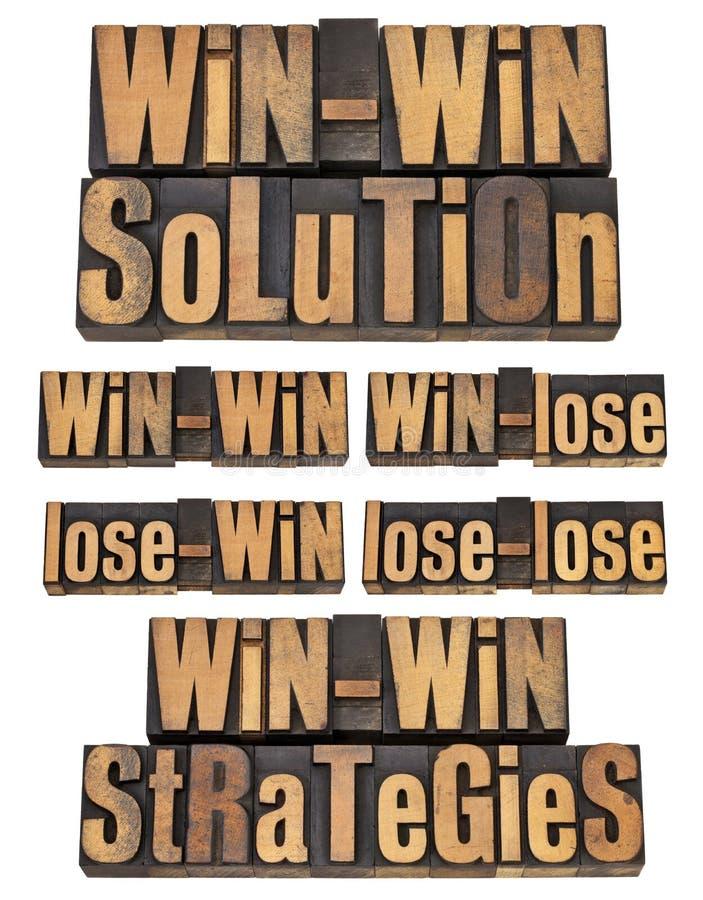 Win-win strategie in letterzetsel stock fotografie