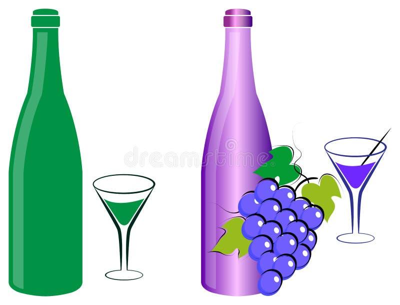 Win winogrona butelka i ilustracji