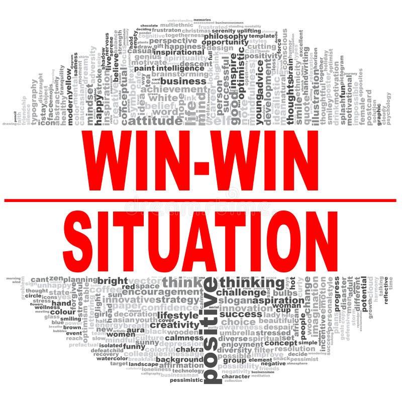 Win-win wolk van het situatiewoord royalty-vrije illustratie