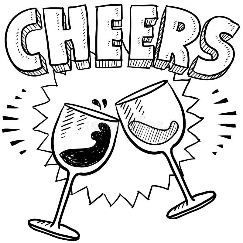 Wina świętowania nakreślenie ilustracja wektor