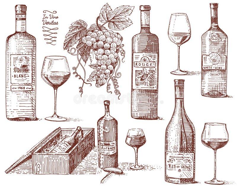 Wina żniwa produkty, prasa, winogrona, winniców corkscrews szkieł butelki w rocznika stylu, grawerująca ręka rysująca ilustracja wektor