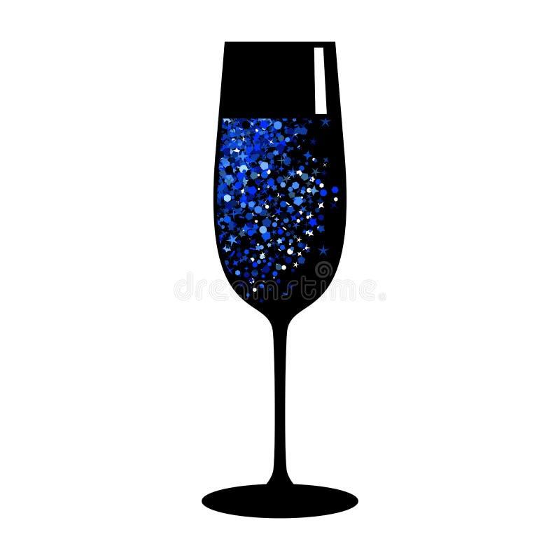 wina błękitnego czerni szkło ilustracji