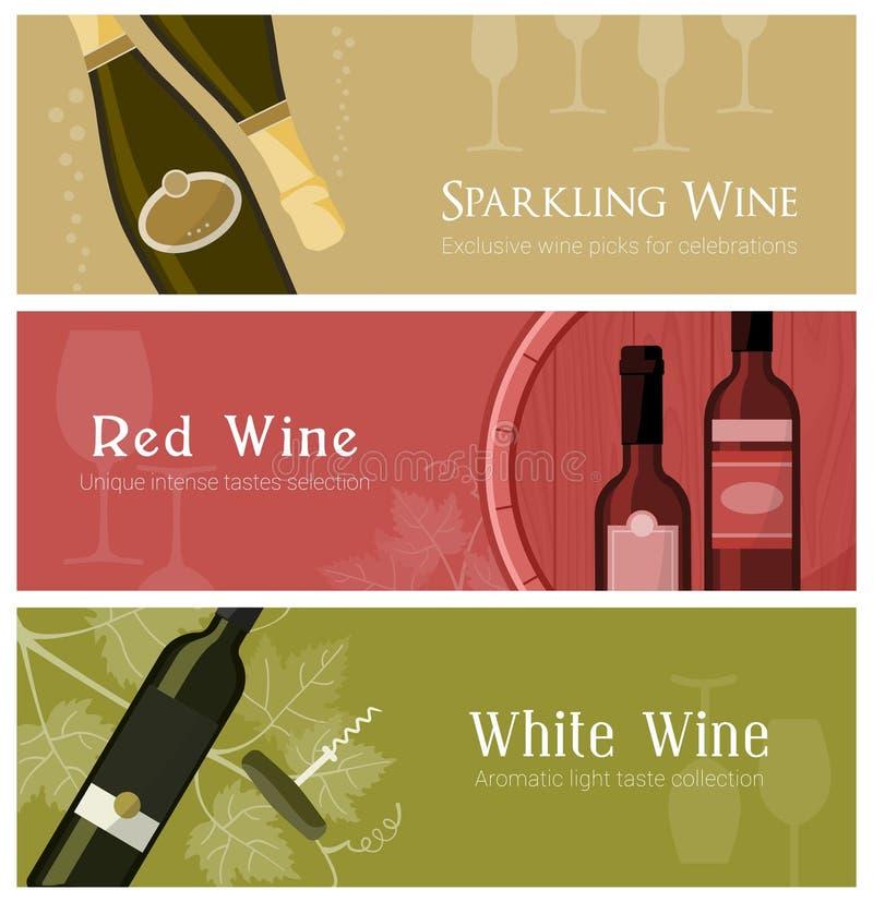 Wina i sera degustacja royalty ilustracja