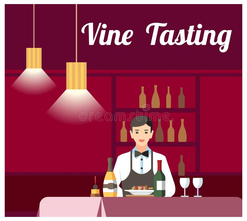 Wina i sera Degustation Płaski Wektorowy sztandar royalty ilustracja