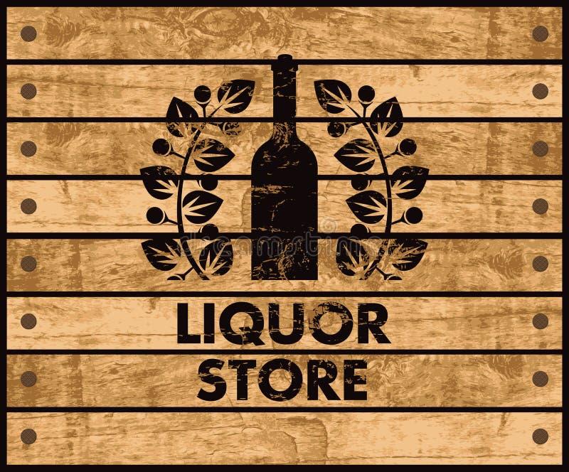 Wina i sklepu monopolowego znak ilustracji