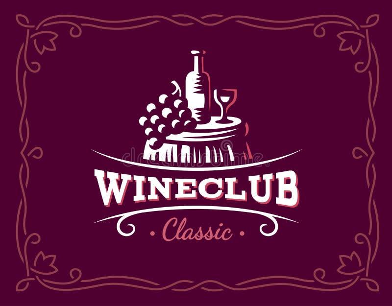 Wina i winogron logo - wektorowa ilustracja, emblemat ilustracja wektor