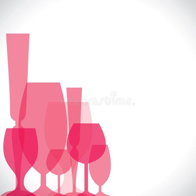 Wina różowy szkło ilustracji
