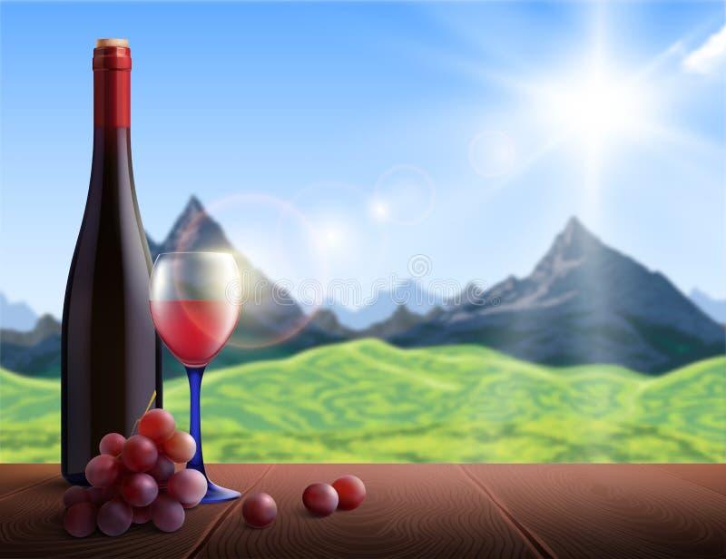 Wina Realistyczny tło ilustracji