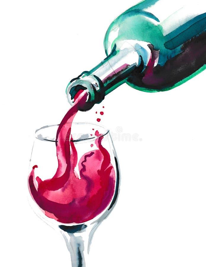 Wina rojo stock de ilustración