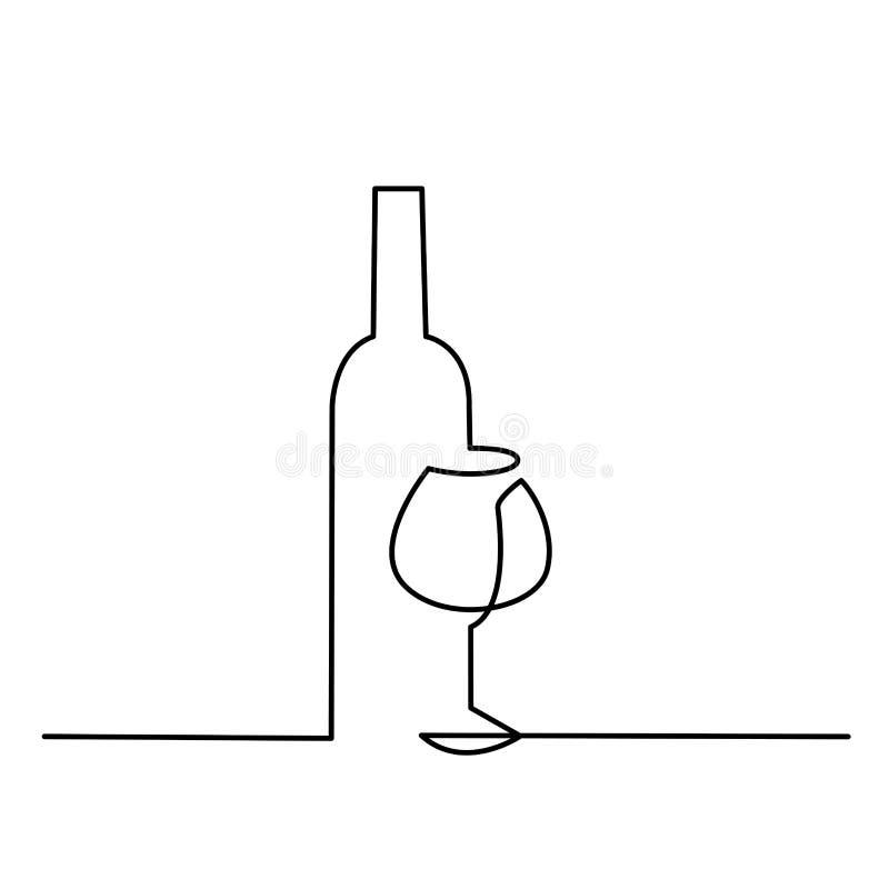 Wina szkła konturu wektoru ikona Ciągła jeden linia rysująca butelka wino i szkło ilustracja wektor