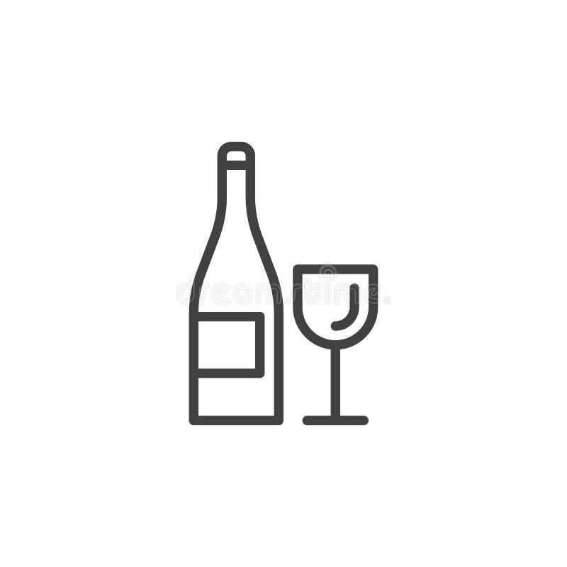 Wina szkła i butelki kreskowa ikona, konturu wektoru znak, liniowy stylowy piktogram odizolowywający na bielu ilustracja wektor