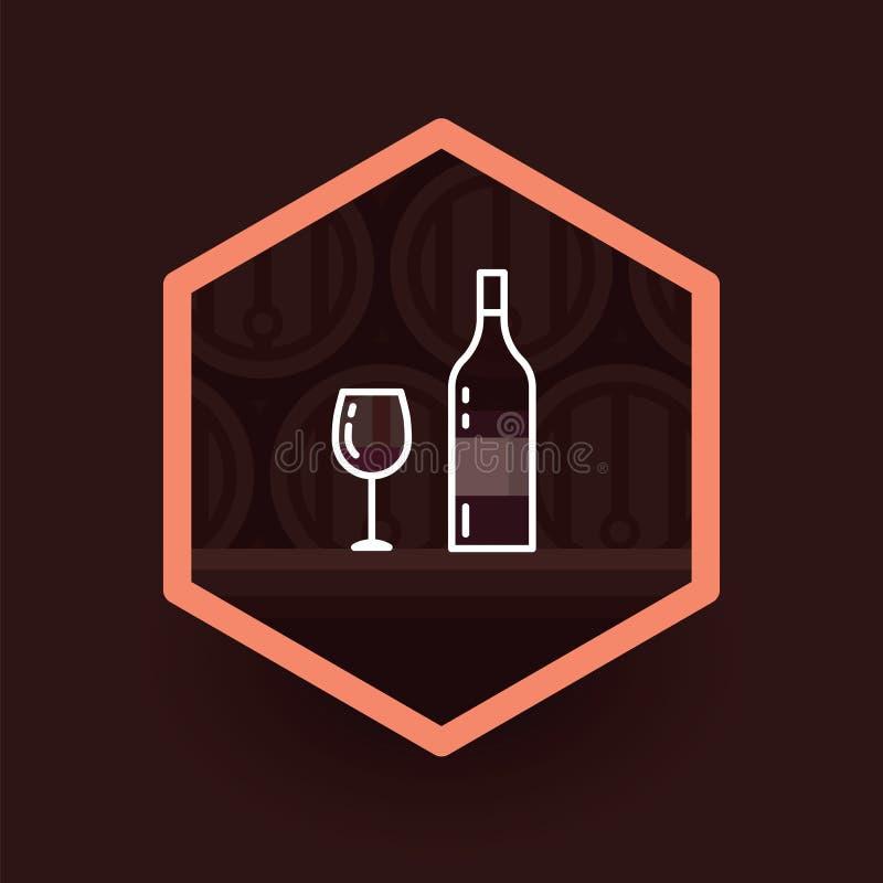 Wina szkła i wino butelki odznaka na ciemnym tle Wektorowa ilustracyjna butelka i szkła wino w stercie przy lochem ilustracja wektor