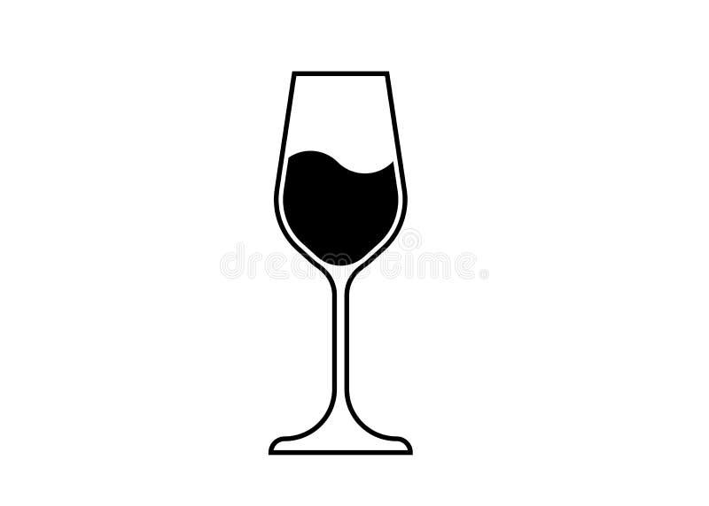 Wina szkła ikona, Wineglass logo, Glassware ikony sztuki Wektorowa ilustracja odizolowywająca royalty ilustracja