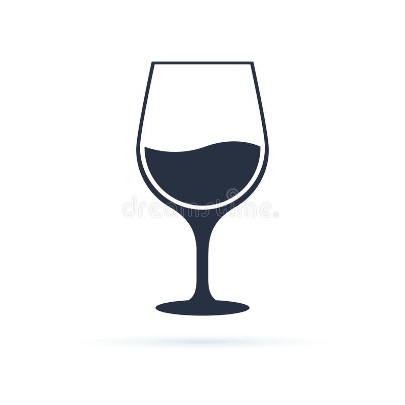 Wina szkła ikony symbolu wektor Wektorowa liniowa czarna ilustracja odizolowywająca na białym tle wina szkło ilustracji