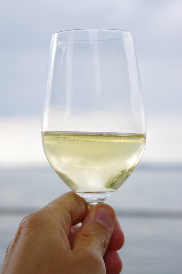 Wina szkła morze zdjęcia royalty free